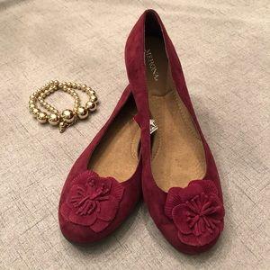 Merona Burgundy Suede Flower Flats Shoes New